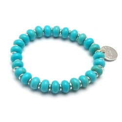 Armband gekleurd turquoise donut met zilver