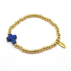 Armband 4mm verguld met gekleurd turquoise kruisje