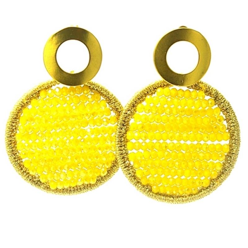 Oorbellen satijndraad met facet rond geel