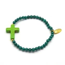 Armband steenkralen emerald met gekleurd turquoise kruis