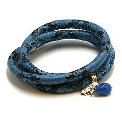 Armband wrap pu leer snake blauw/zwart