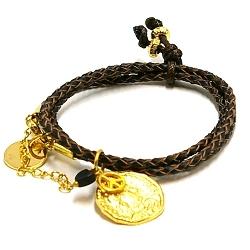 Armband gevlochten natuurleer wrap 3 rij zwart