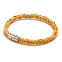Armband gevlochten natuurleer beige
