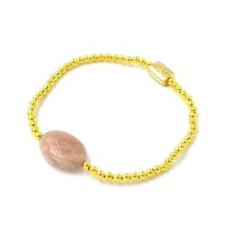 Armband 3mm verguld goud kraaltjes met sunstone steen