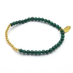 Armband 4mm steenkralen emerald met verguld gouden balletjes