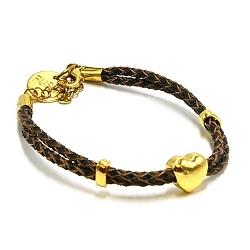 Armband gevlochten natuurleer met verguld goud hartje donkerbruin