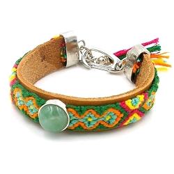 Armband leer met geweven armband en agaat groen steen