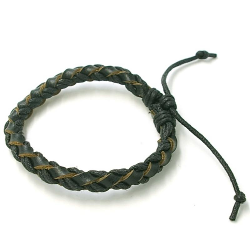 Armband natuurleer en waxkoord gevlochten zwart