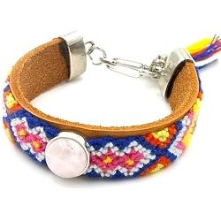 Armband leer met geweven armband en rozekwarts steen