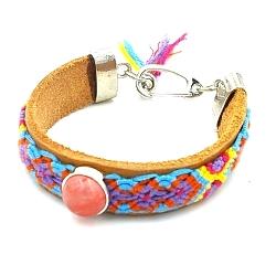 Armband leer met geweven armband en cherry quartz steen