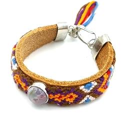 Armband leer met geweven armband en paarse steen