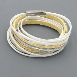 Armband wrap pu leer wit
