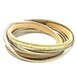 Armband wrap pu leer brons