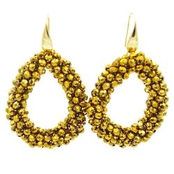 Oorbellen Candy goud facet met gouden haakjes