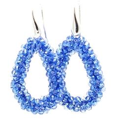 Oorbellen Candy klein koningsblauw facet met zilveren haakjes
