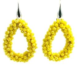 Oorbellen Candy klein geel facet met zilveren haakjes