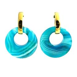 Oorbellen halfedelsteen hanger rond agaat blauw met stainless steel creolen