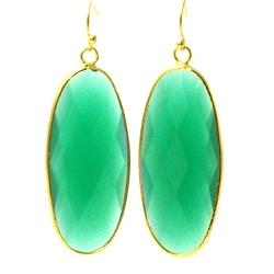 Oorbellen facet geslepen crystal druppel lang (emerald)