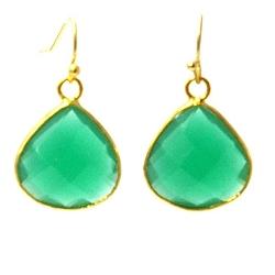 Oorbellen facet geslepen crystal druppel (emerald)
