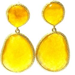 Oorbellen facet geslepen duo met gouden rand amber