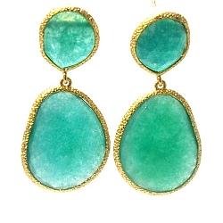 Oorbellen facet geslepen duo met gouden rand emerald