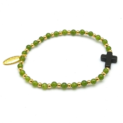 Armband steenkralen groen en gekleurd turquoise met verguld gouden balletjes