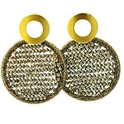 Oorbellen satijndraad met facet rond brons/goud