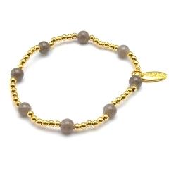 Armband 6mm steenkralen grijs met verguld gouden balletjes