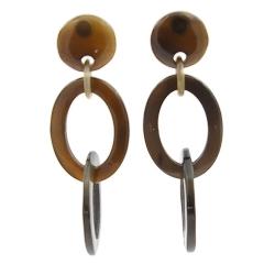Oorbellen buffelhoorn 2 ringen onder elkaar zwart lacque