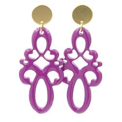 Oorbellen buffelhoorn ornament lang phlox pink lacquer met gouden knop