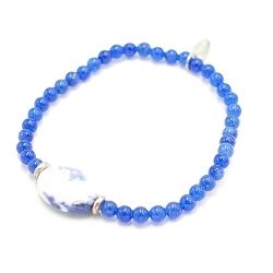 Armband 4mm steen blauw met sodalite steen en zilveren spacers