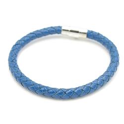 Armband 6mm natuurleer blauw