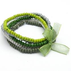 Armbandset 3mm hout groen/zilver/wit