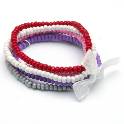 Armbandset 3mm hout roze/rood/paars/zilver/wit