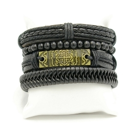 Herenarmband natuurleer set zwart