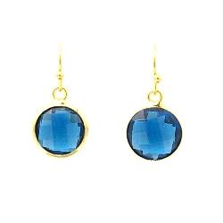 Oorbellen facet geslepen crystal rond 12mm blauw met goud