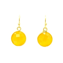 Oorbellen facet geslepen crystal rond 12mm geel met goud
