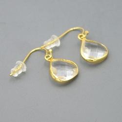 Oorbellen facet geslepen crystal druppel 12x12mm (crystal)