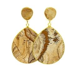 Oorbellen halfedelsteen picture jasper hanger druppel goud