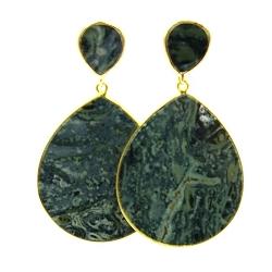 Oorbellen halfedelsteen agaat groen hanger druppel goud