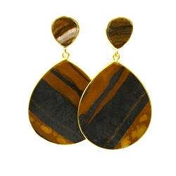 Oorbellen halfedelsteen grain stone hanger druppel goud