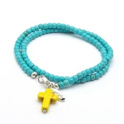 Armband 4mm gekleurd turquoise kralen met bedels