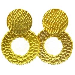 Oorbellen metaal groot cirkel en steker goud