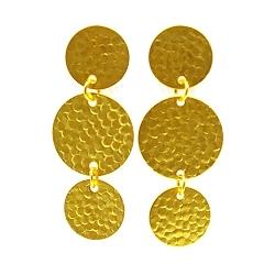 Oorbellen metaal drie onder elkaar goud