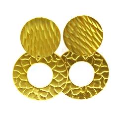 Oorbellen metaal open cirkel met steker goud