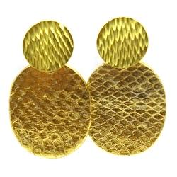 Oorbellen snakeleer ovaal dicht groot goud