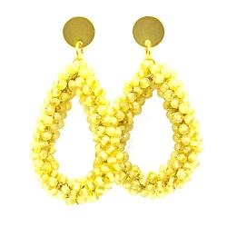 Oorbellen Candy klein amber met gouden stekers