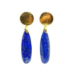 Oorbellen facet geslepen druppel Lapis Lazuli