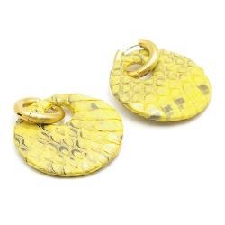 Oorbellen snakeleer rond geel met creolen