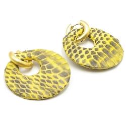 Oorbellen rond met groot gat snakeleer geel met creolen